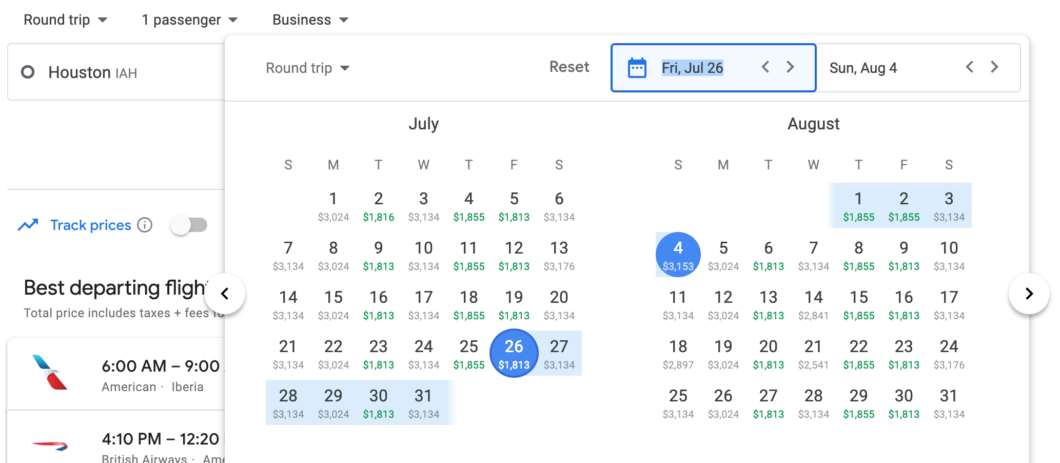 Google flights interface