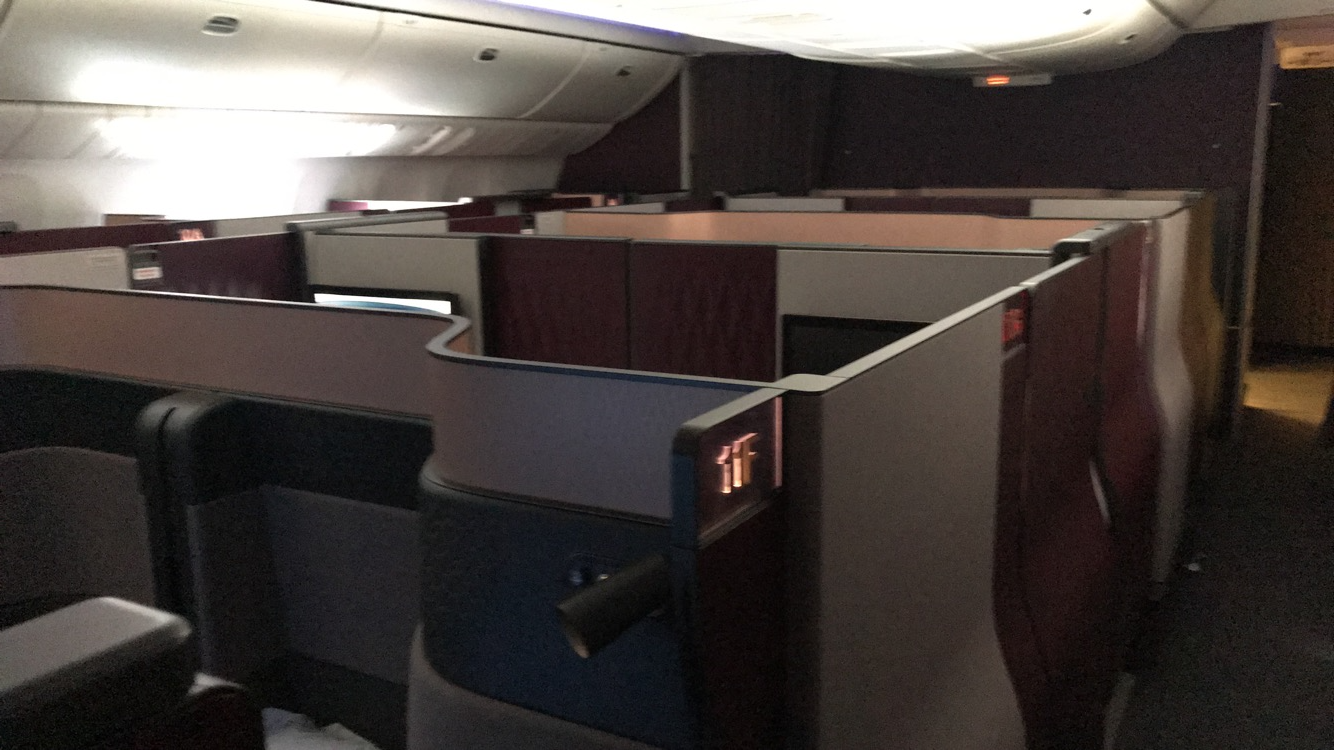 Qatar Airways Boeing 777-300ER Qsuite Business Class cabin