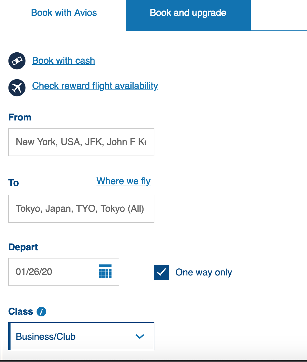 BA Avios flight search interface