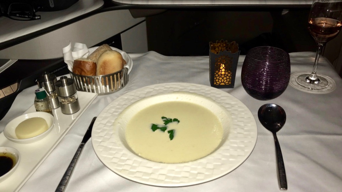 Qatar Airways Qsuite Business Class cauliflower soup