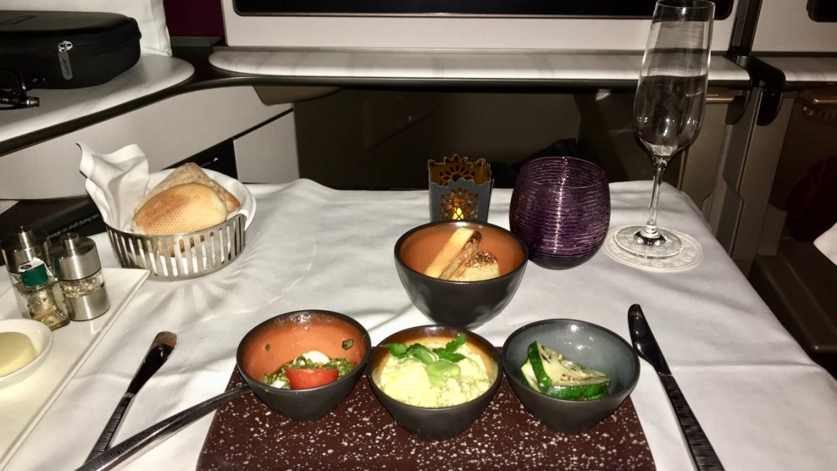 Qatar Airways Qsuite Business Class Arabic meze
