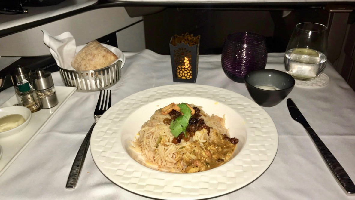 Qatar Airways Qsuite Business Class chicken machboos