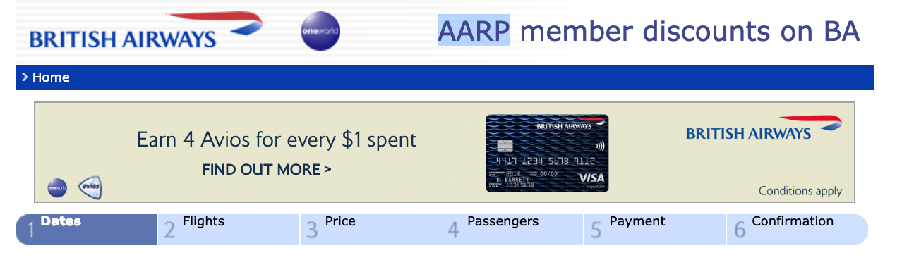 AARP British Airways landing page
