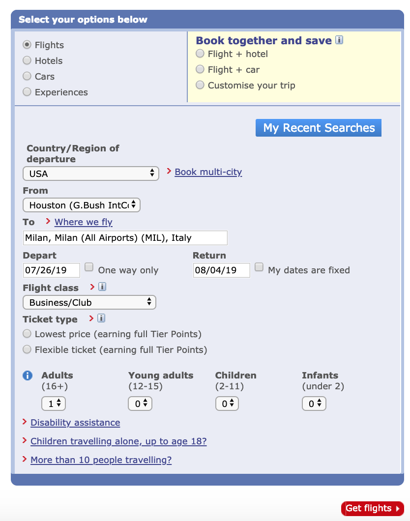 BA flight search interface
