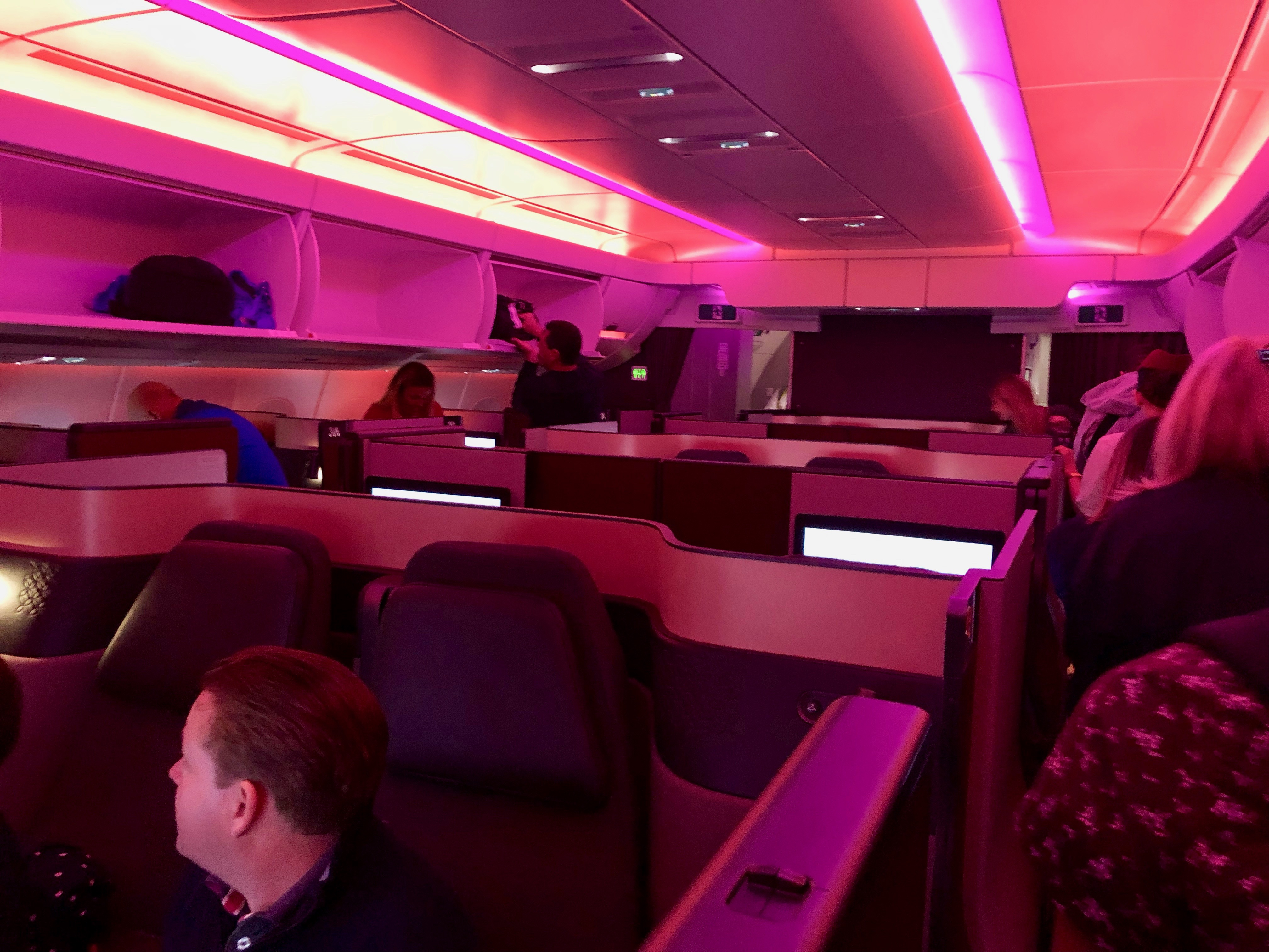 Qatar Airways A350-900 Qsuite business class cabin
