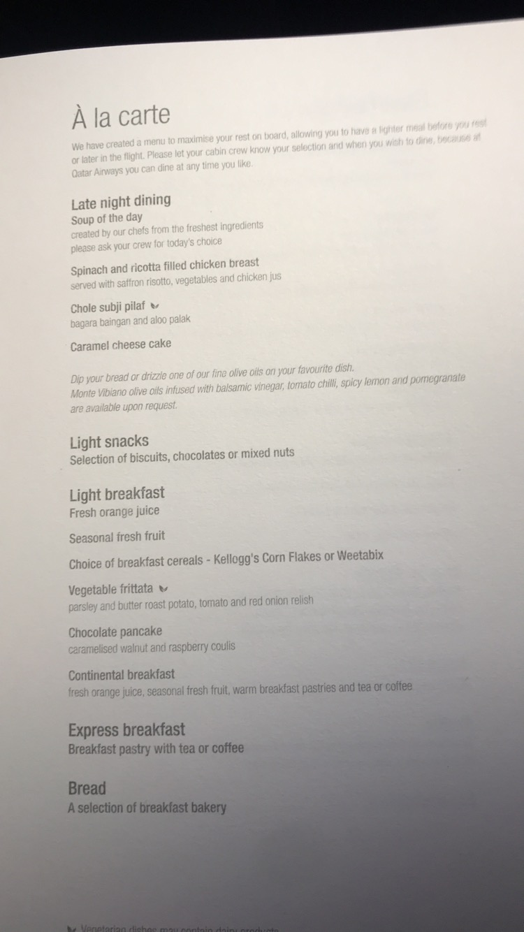 Qatar Airways business class late night dining menu