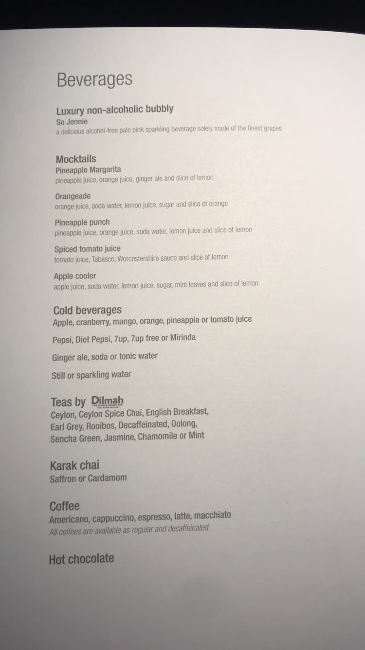 Qatar Airways business class late beverage menu