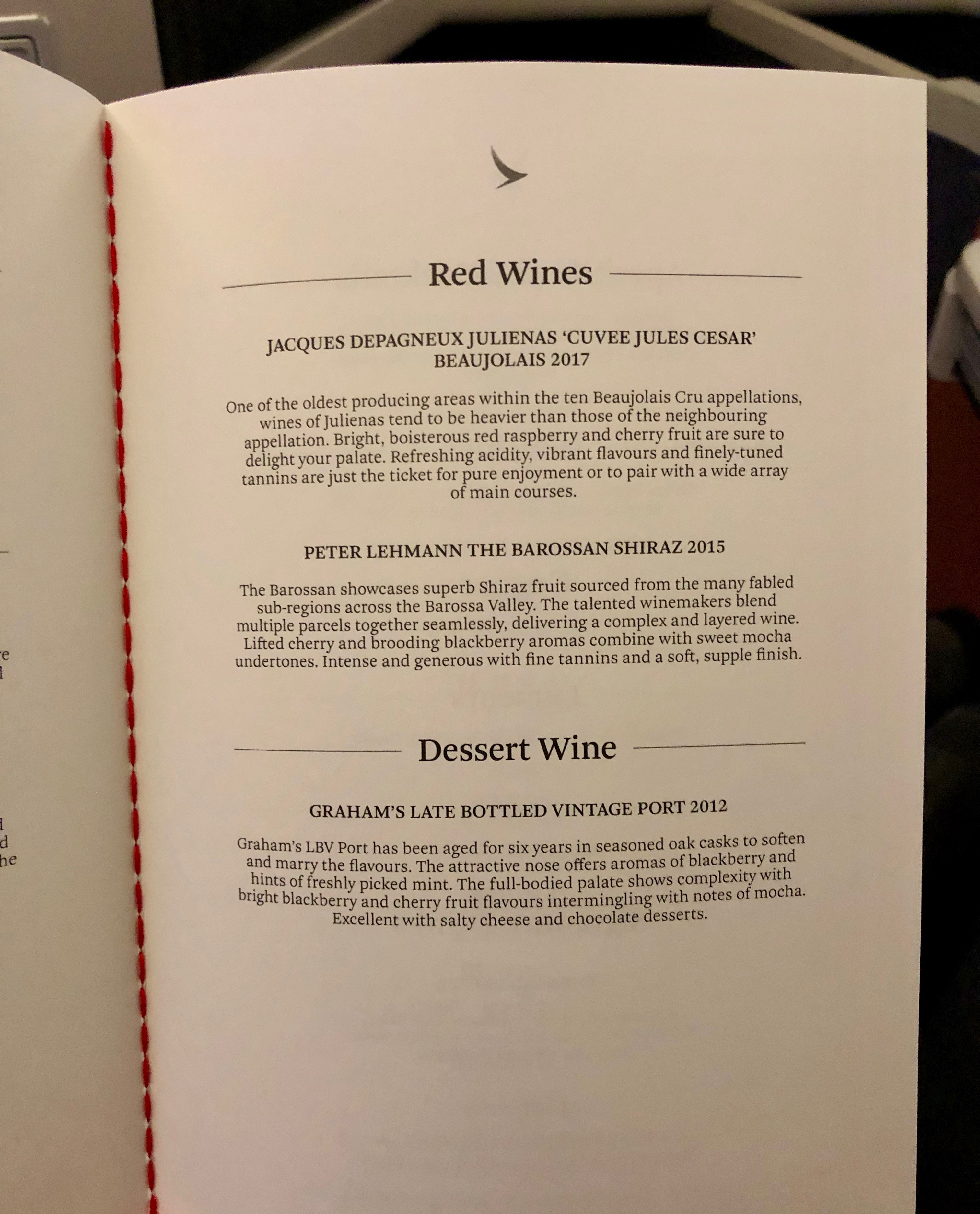 Cathay Pacific business class red wine menu MLE-HKG