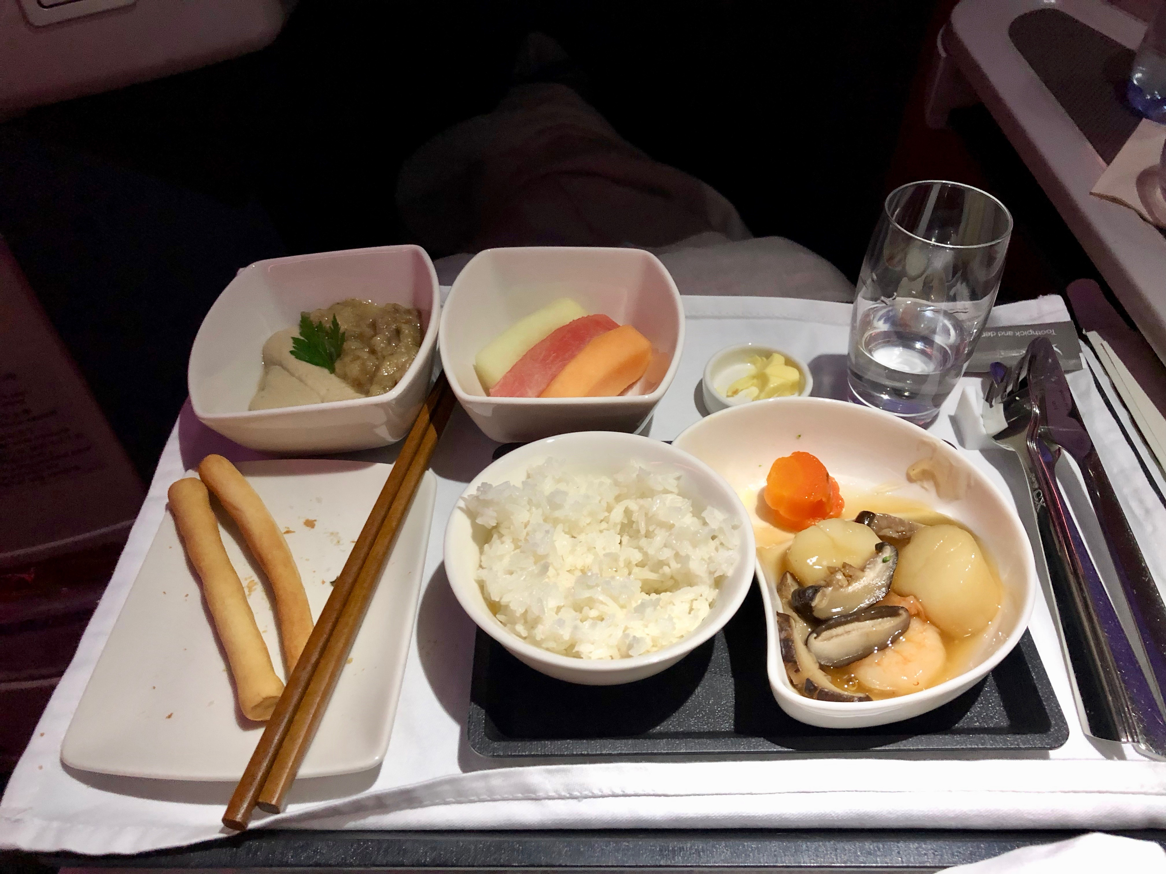 Cathay Pacific business class stir fried seafood MLE-HKG