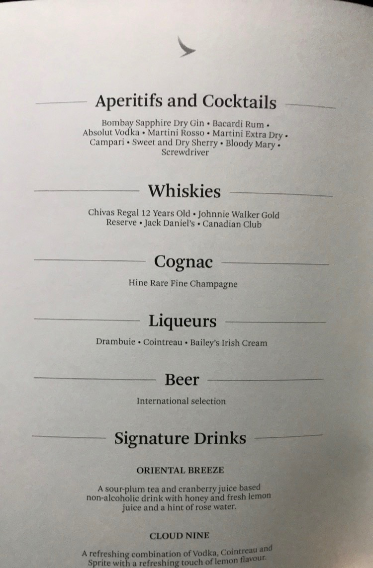 Cathay Pacific business class alcoholic beverage menu MLE-HKG