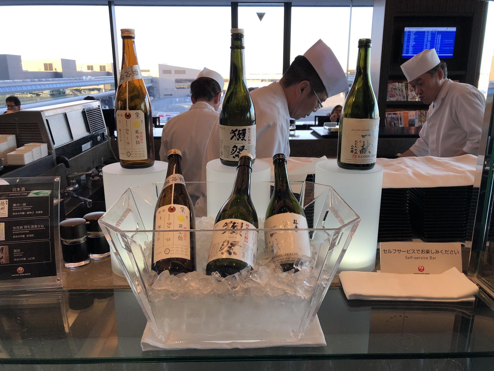 JAL First Class Lounge sake