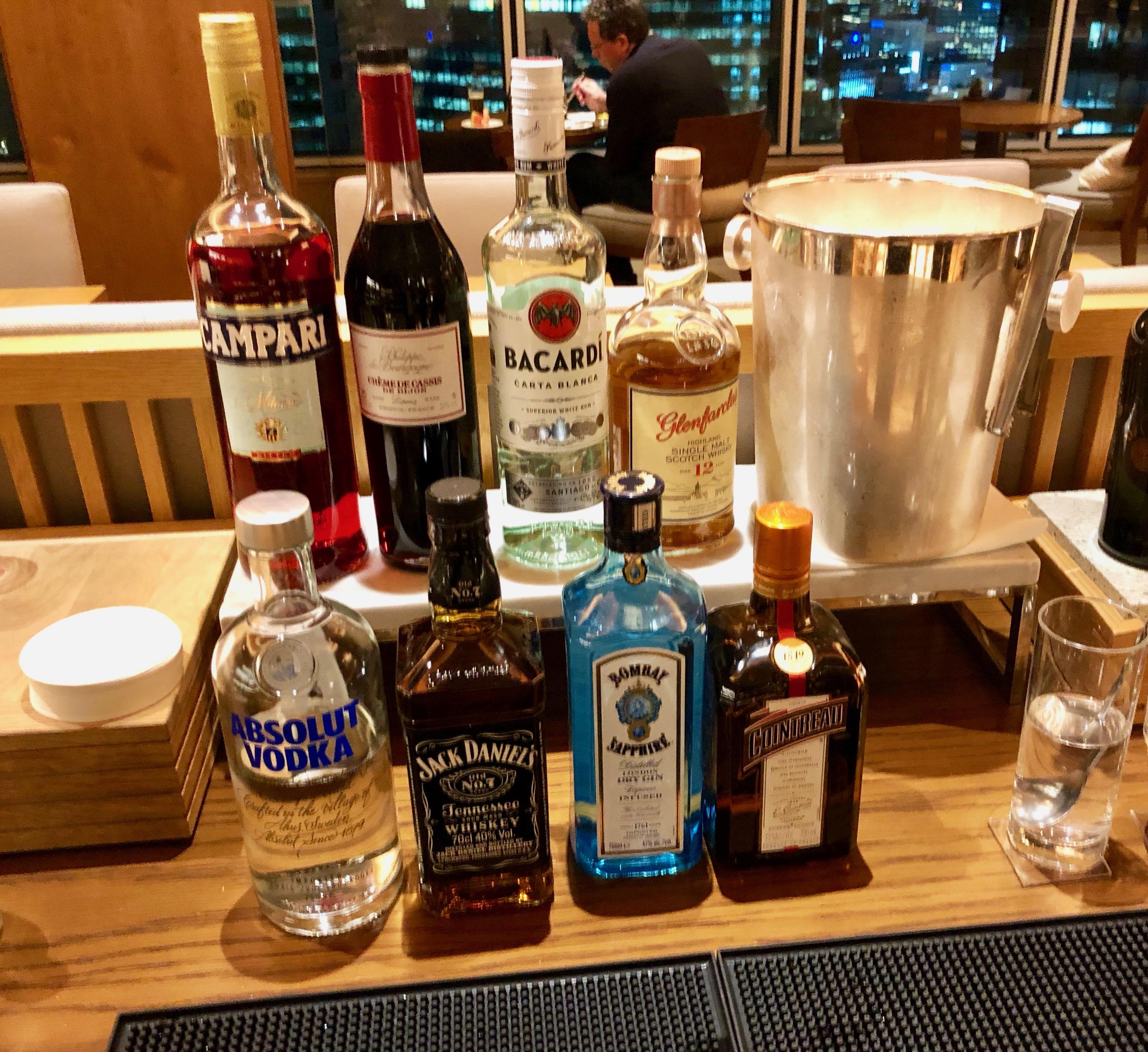 Conrad Tokyo Executive Lounge liquor selection