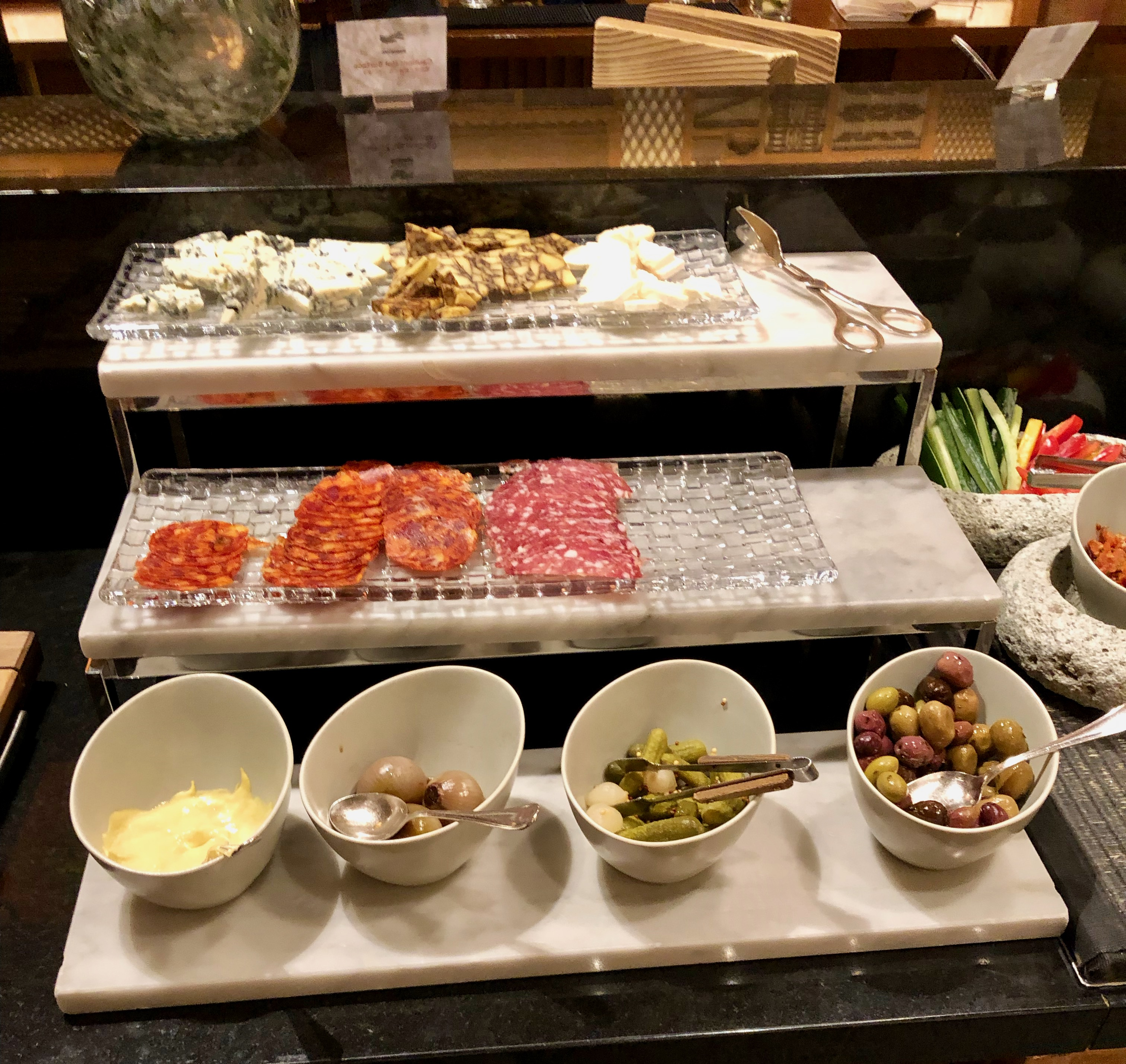 Conrad Tokyo Executive Lounge cured meats and cheeses