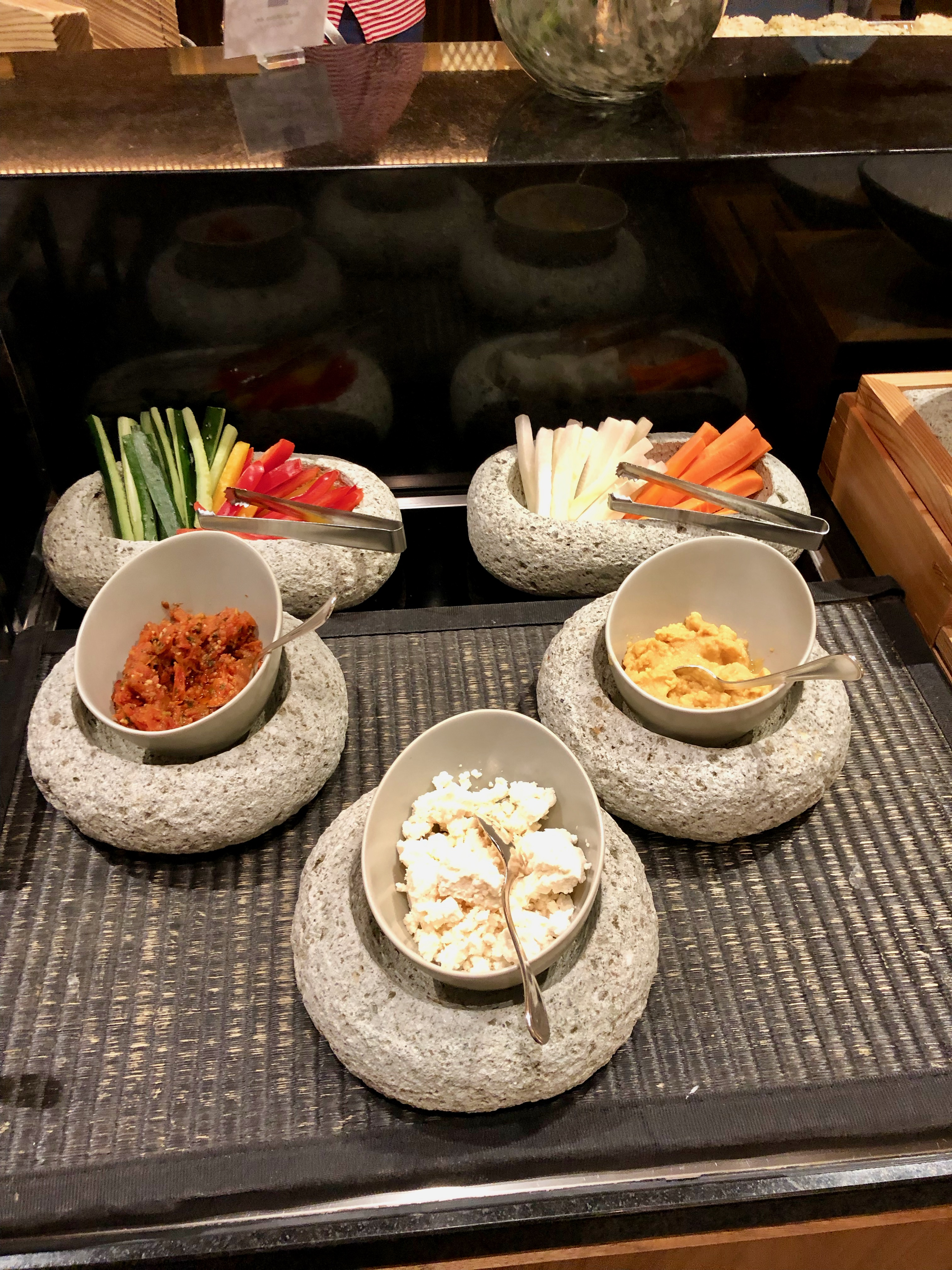 Conrad Tokyo Executive Lounge vegetables and dips