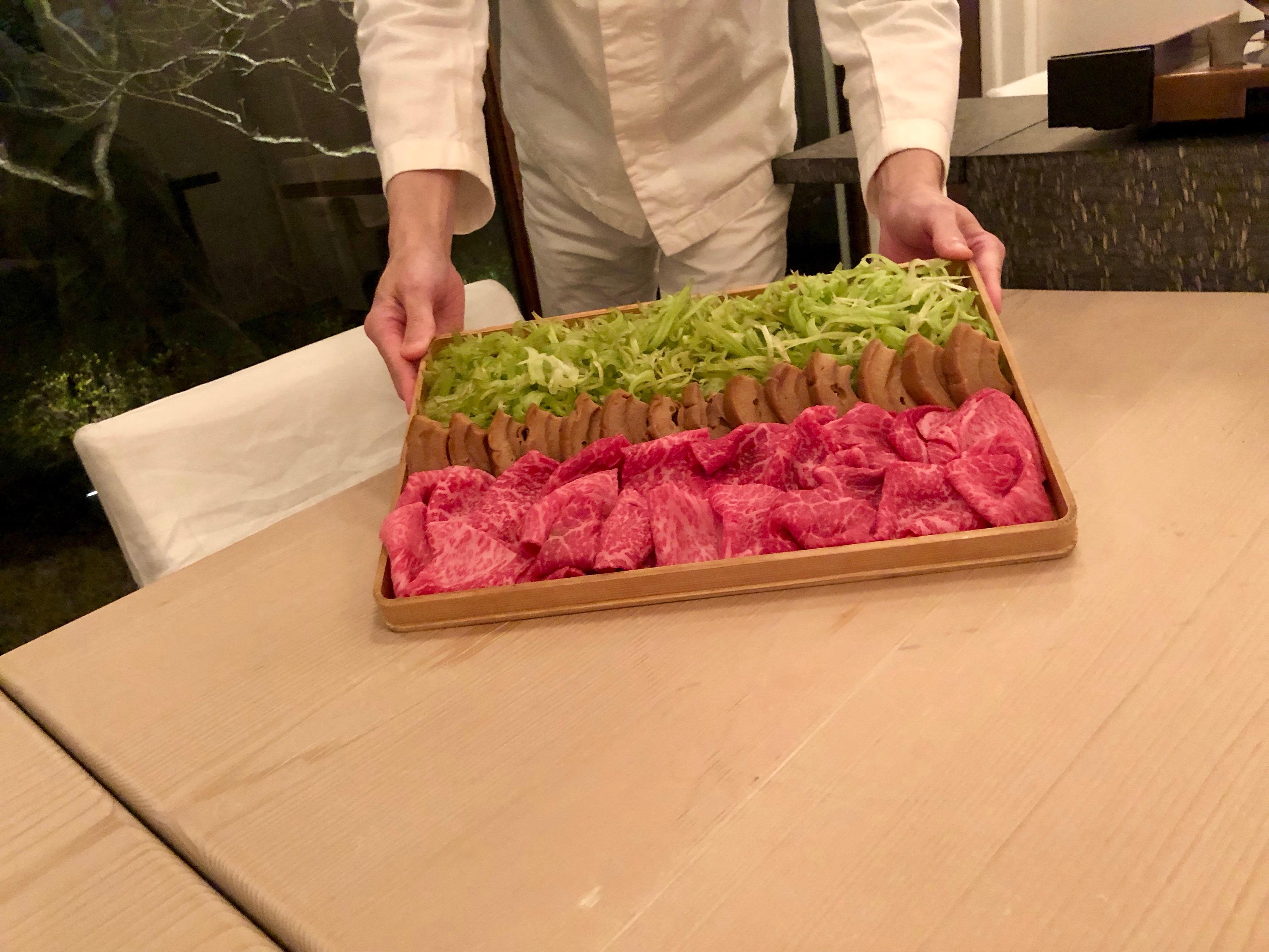 Yakumo Saryo Ohmi / Shiga beef, Kurumabu (gluten cake) and Hagobou - stalk of burdock