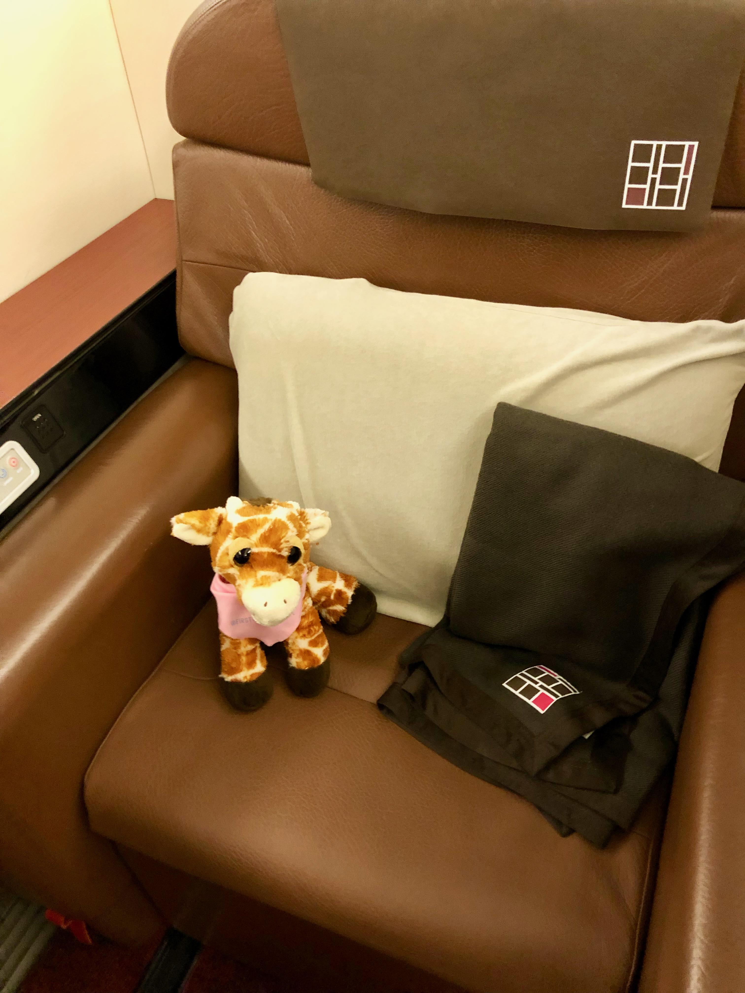First Class Giraffe in JAL First Class seat