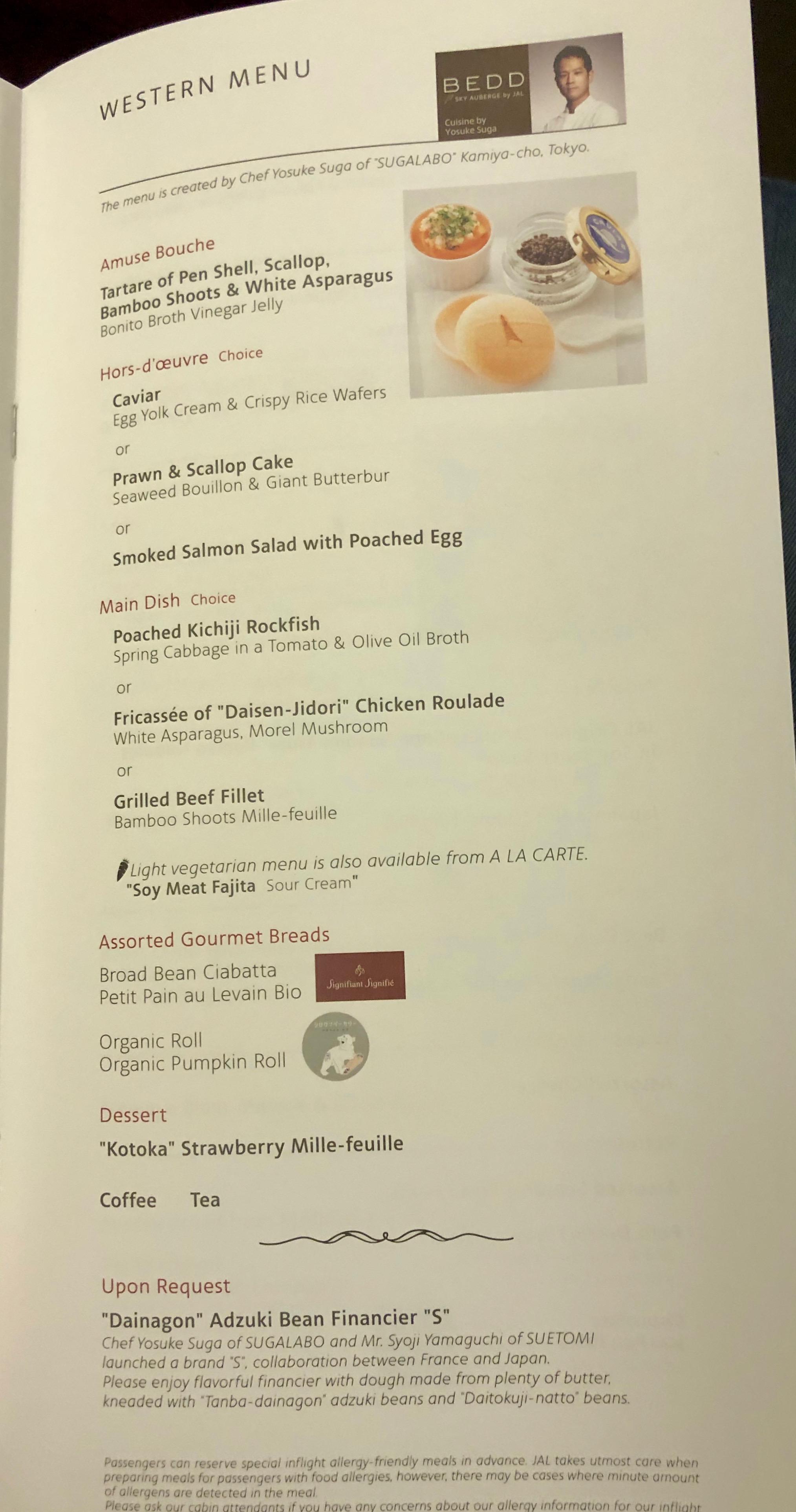 JAL First Class Western menu