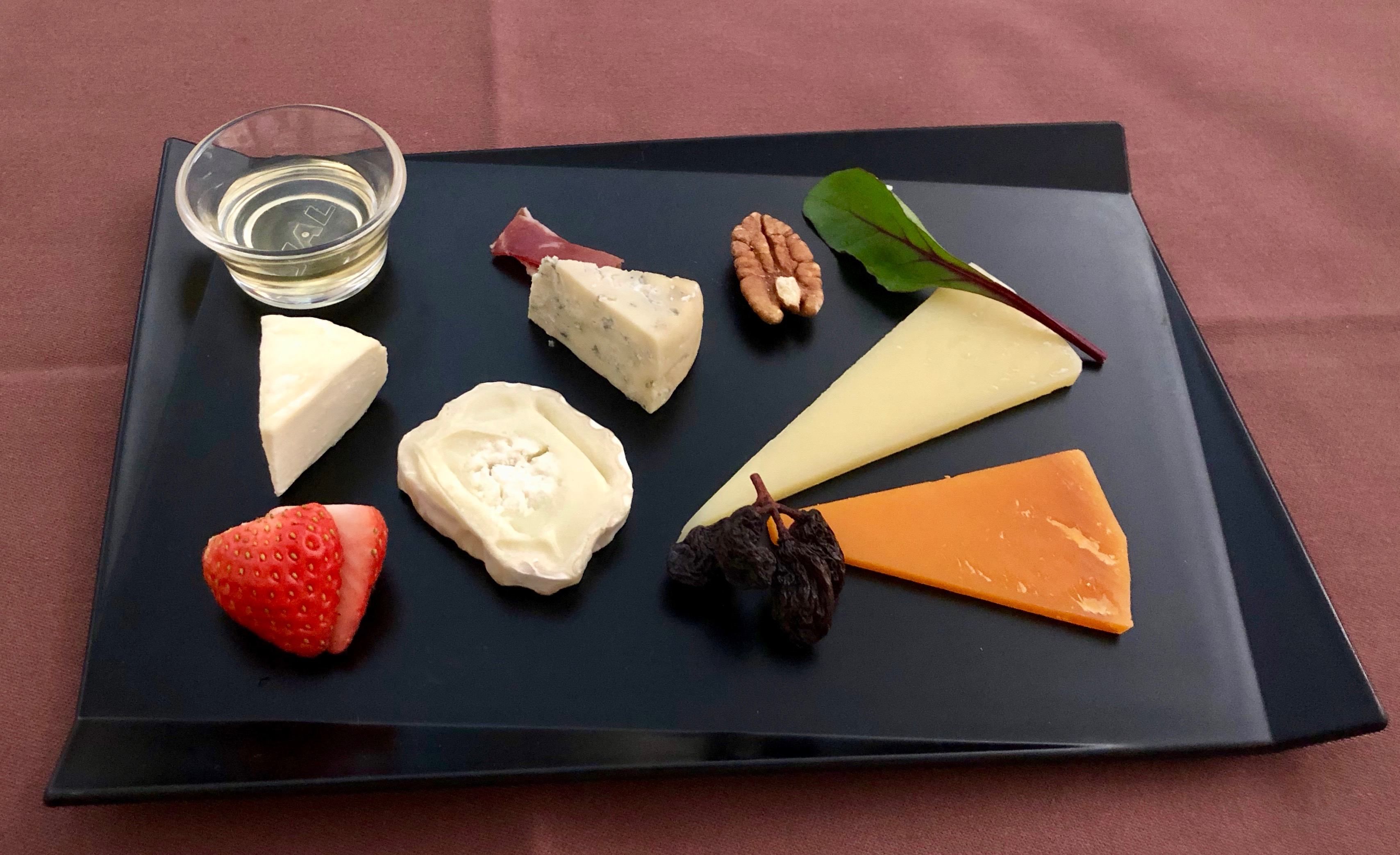JAL First Class cheese plate