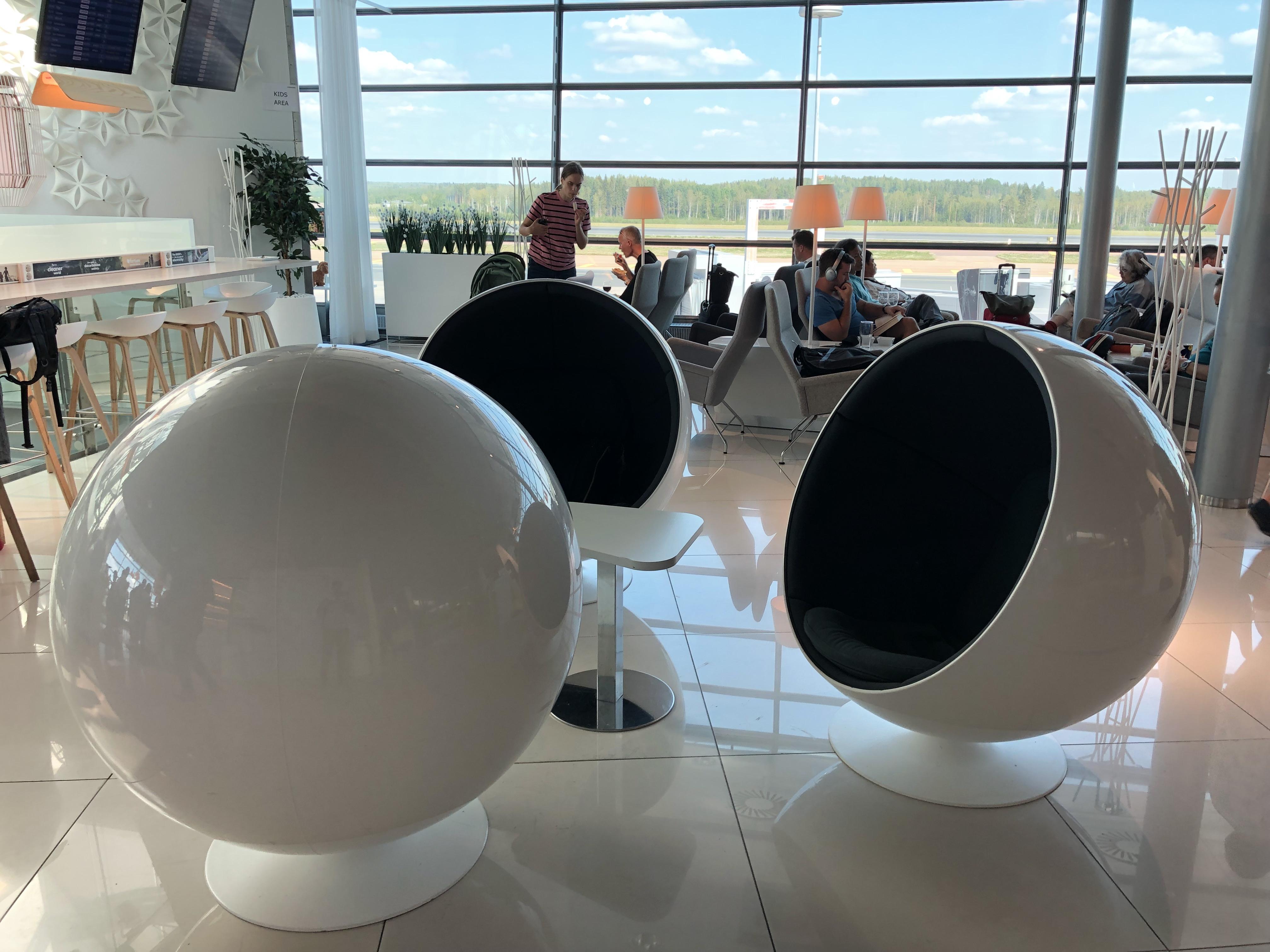 Finnair Business Class Lounge Helsinki seating