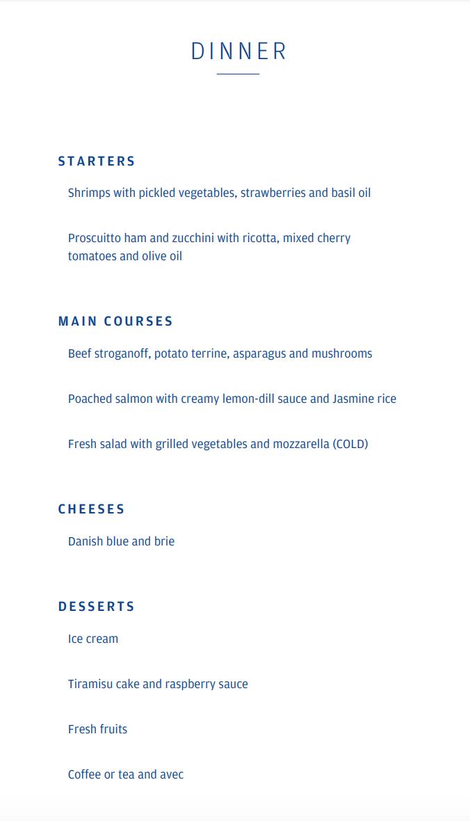 Finnair A330-300 JFK-HEL business class dinner menu