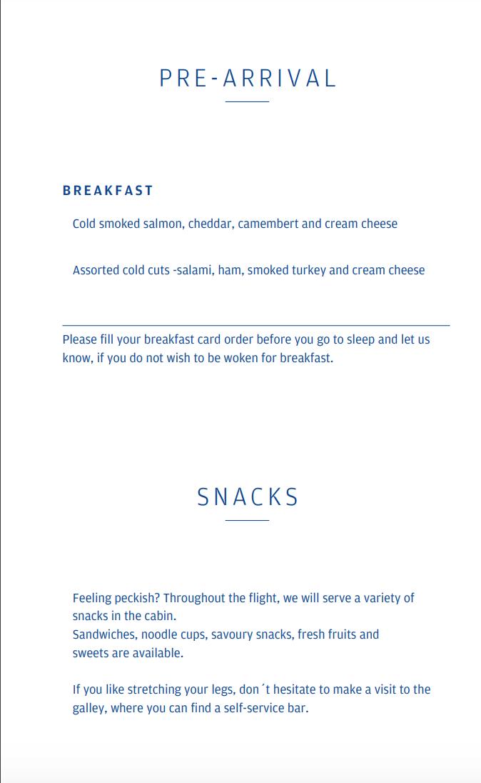 Finnair A330-300 JFK-HEL business class breakfast menu