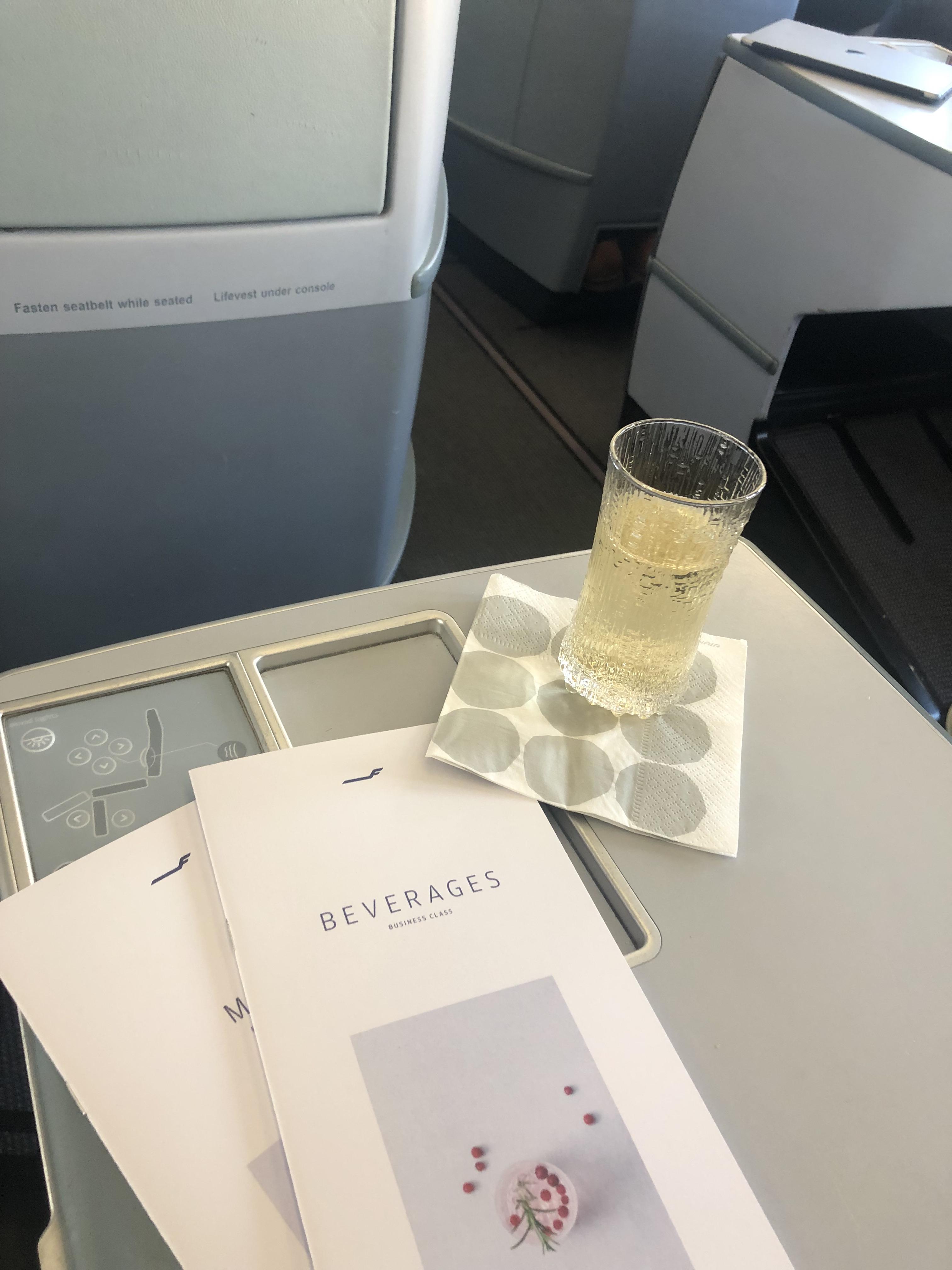 Finnair A330-300 business class welcome drink