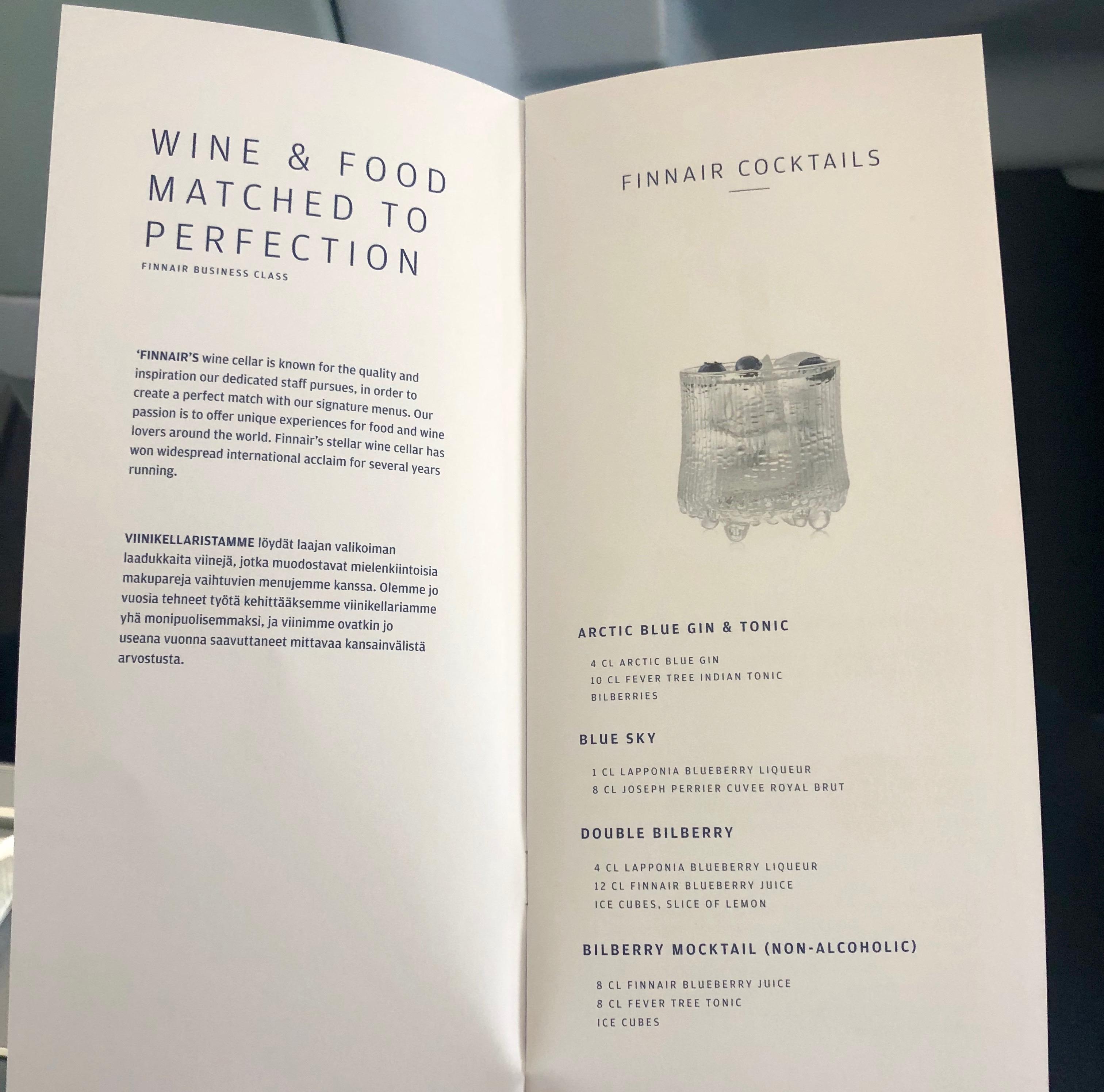 Finnair A330-300 JFK-HEL business class cocktail menu