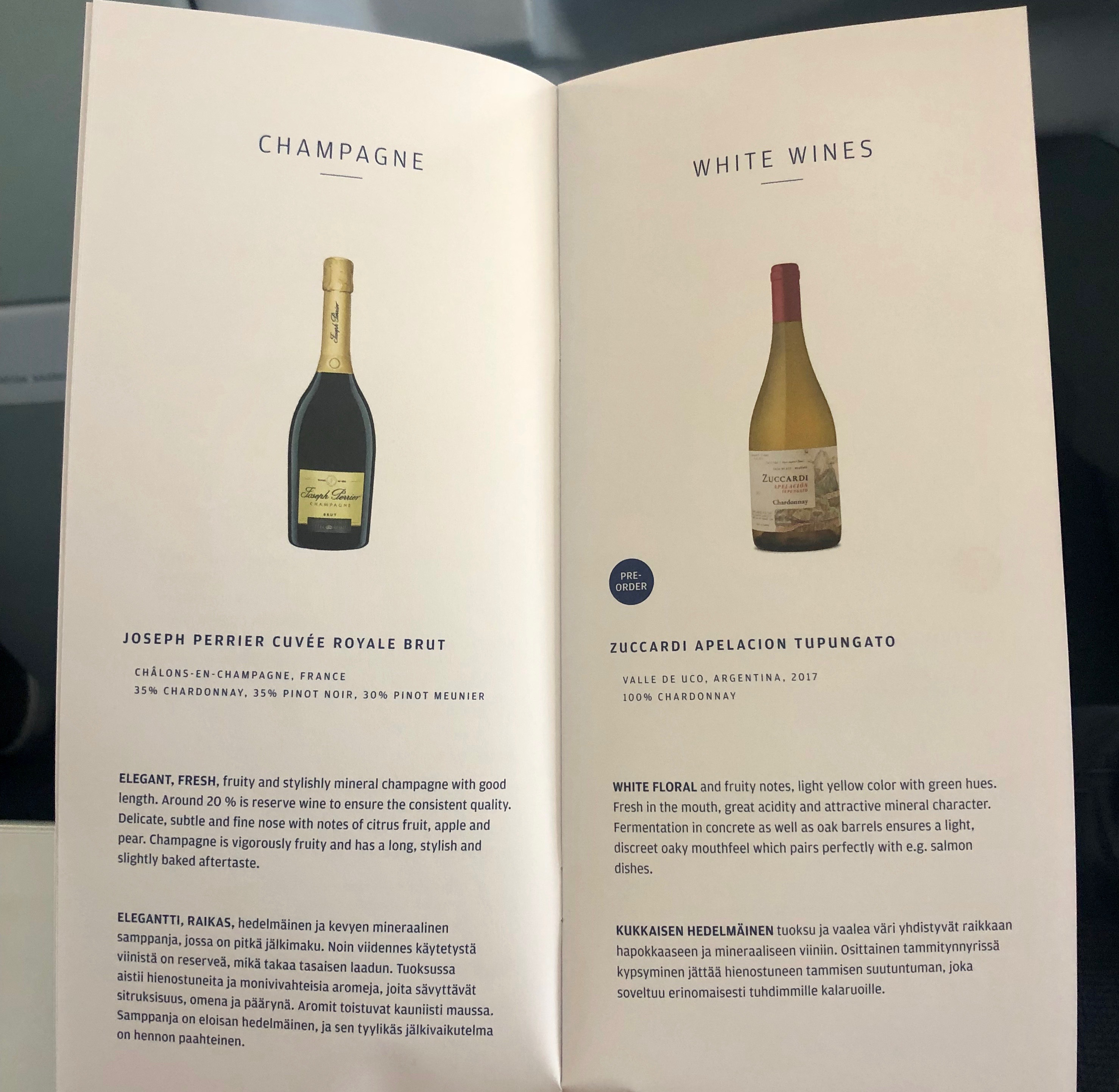 Finnair A330-300 JFK-HEL business class champagne and white wine menu