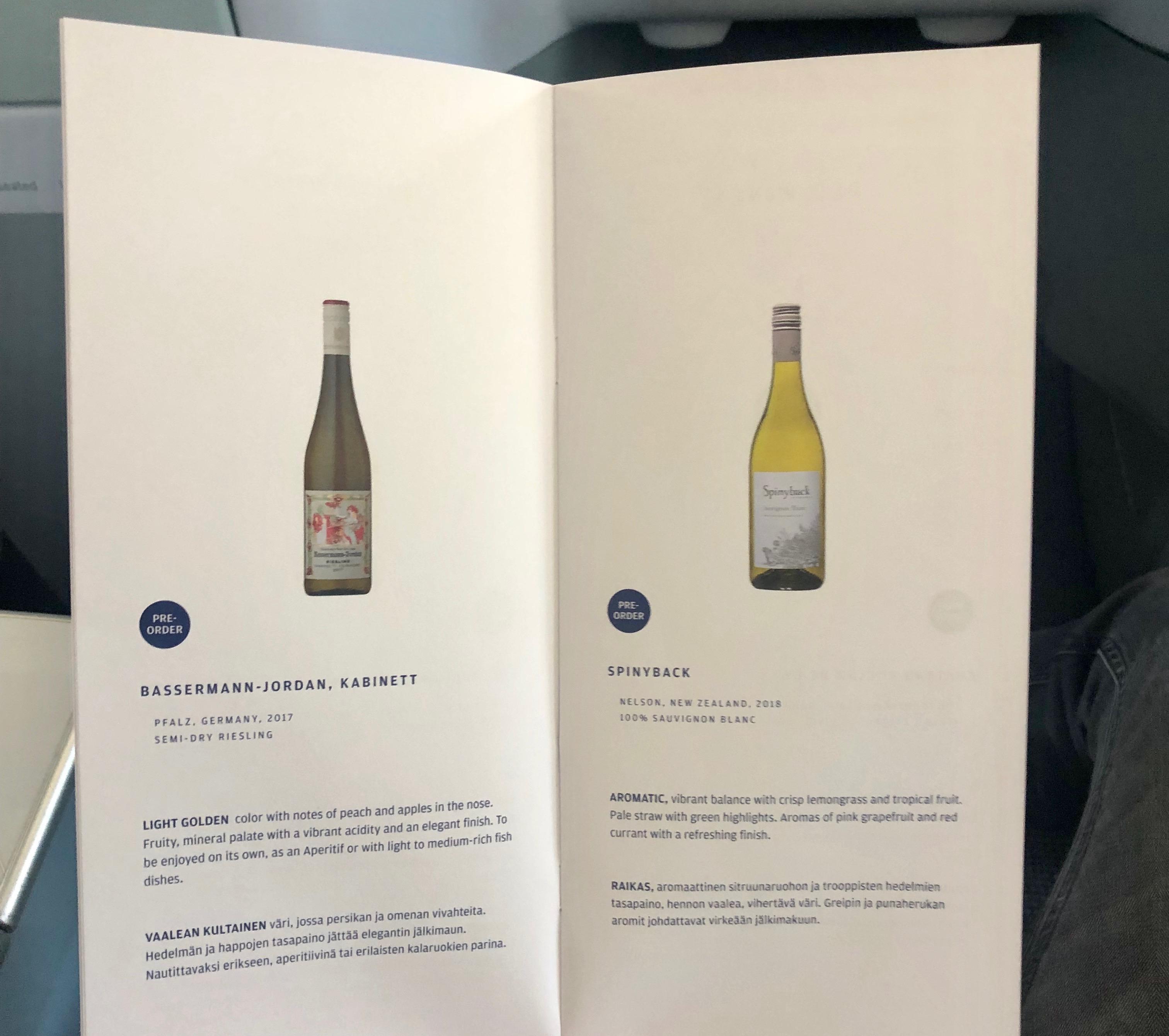 Finnair A330-300 JFK-HEL business class white wine menu