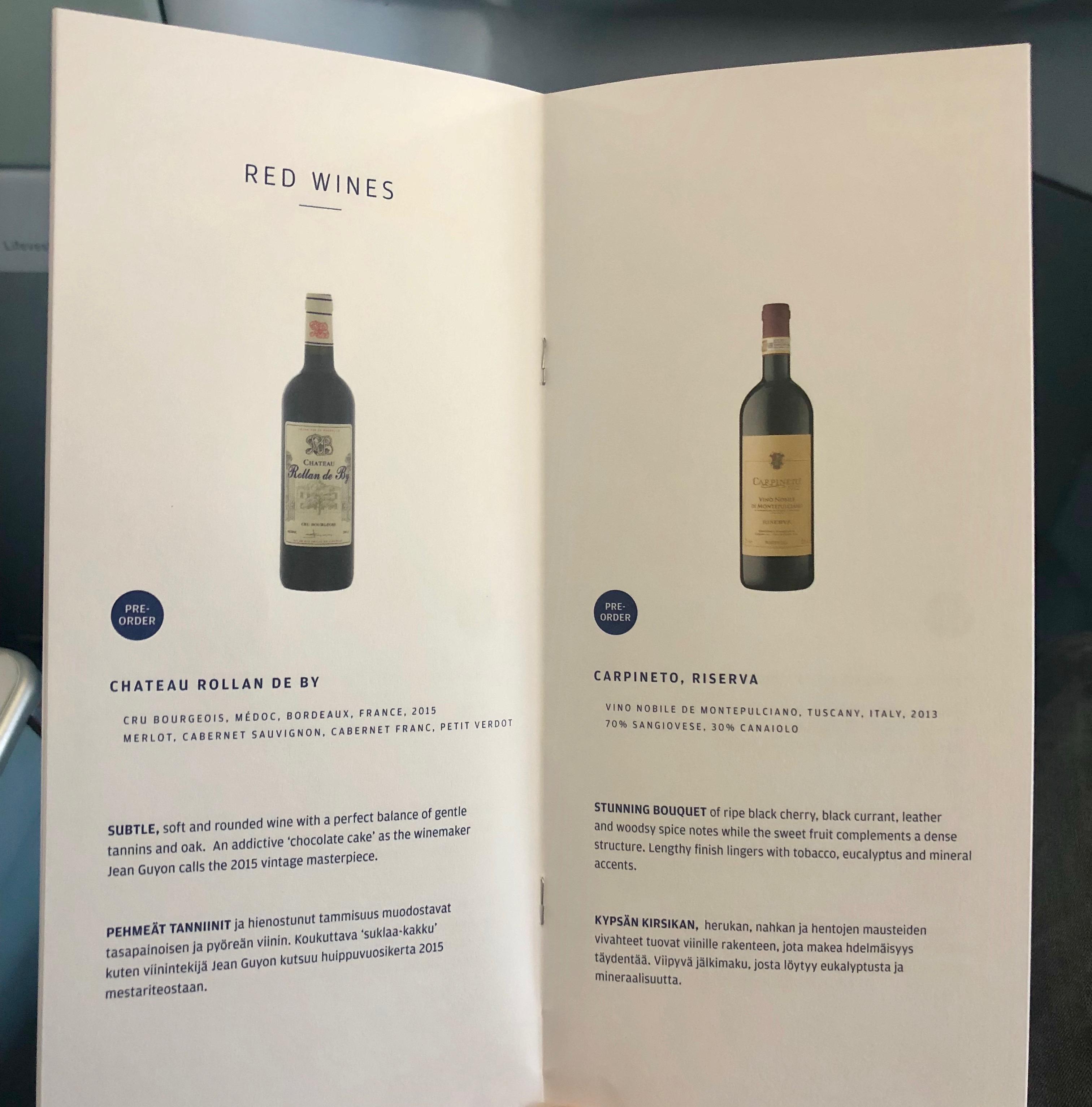 Finnair A330-300 JFK-HEL business class red wine menu