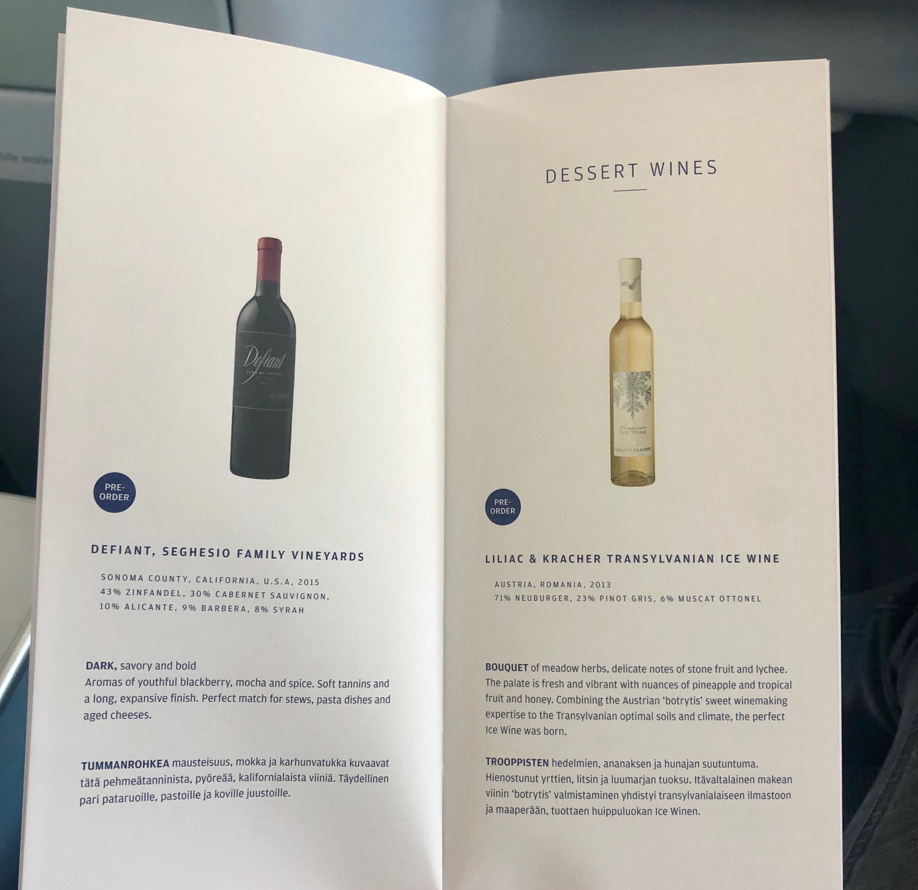 Finnair A330-300 JFK-HEL business class dessert wine menu