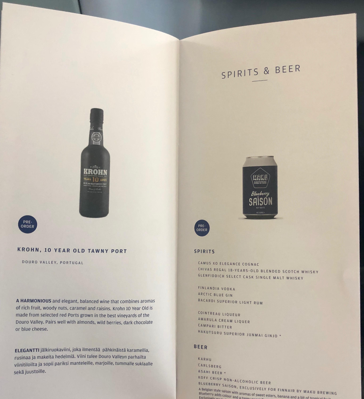 Finnair A330-300 JFK-HEL business class spirits and beer menu