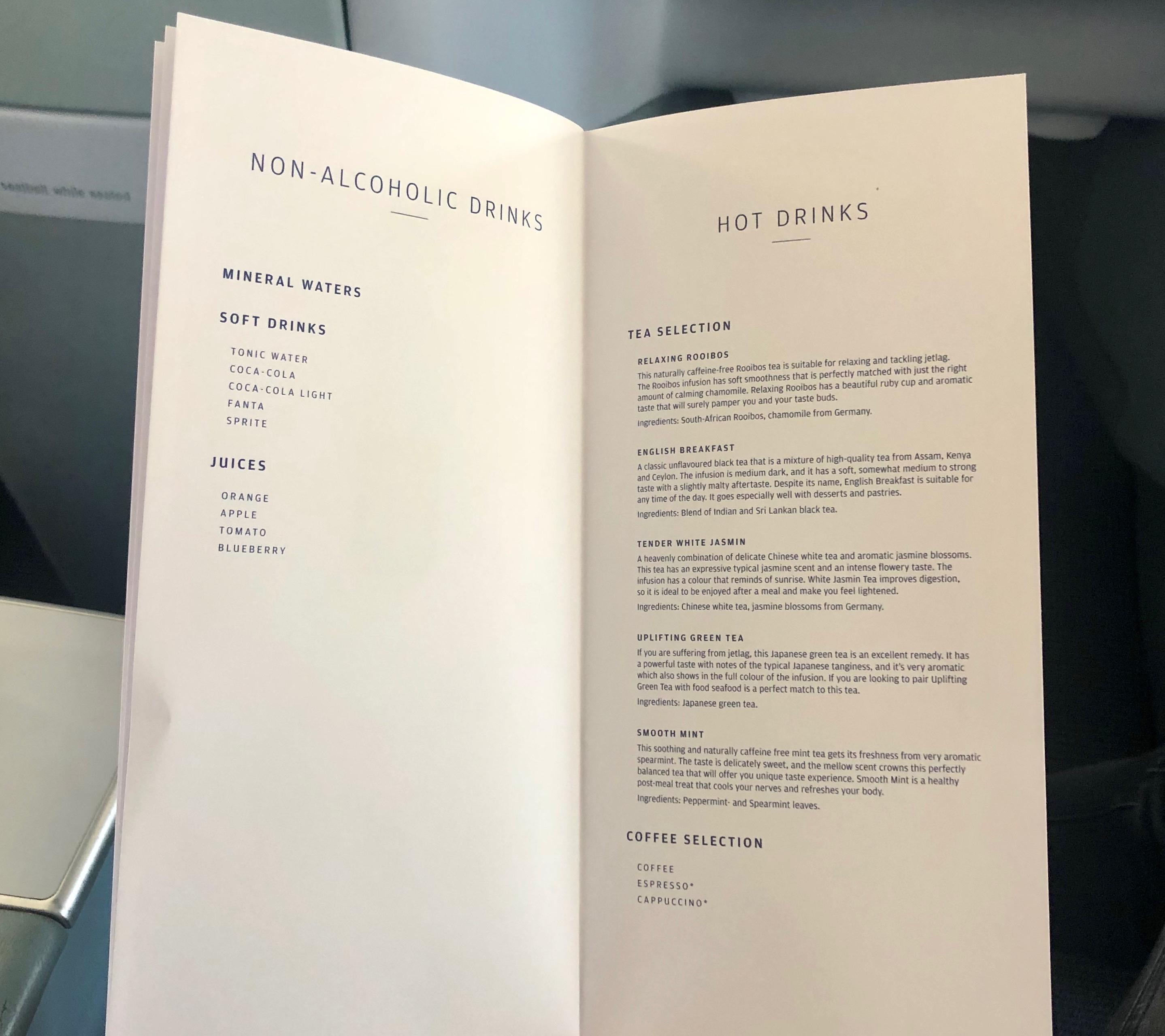 Finnair A330-300 JFK-HEL business class non-alcoholic and hot drink menu