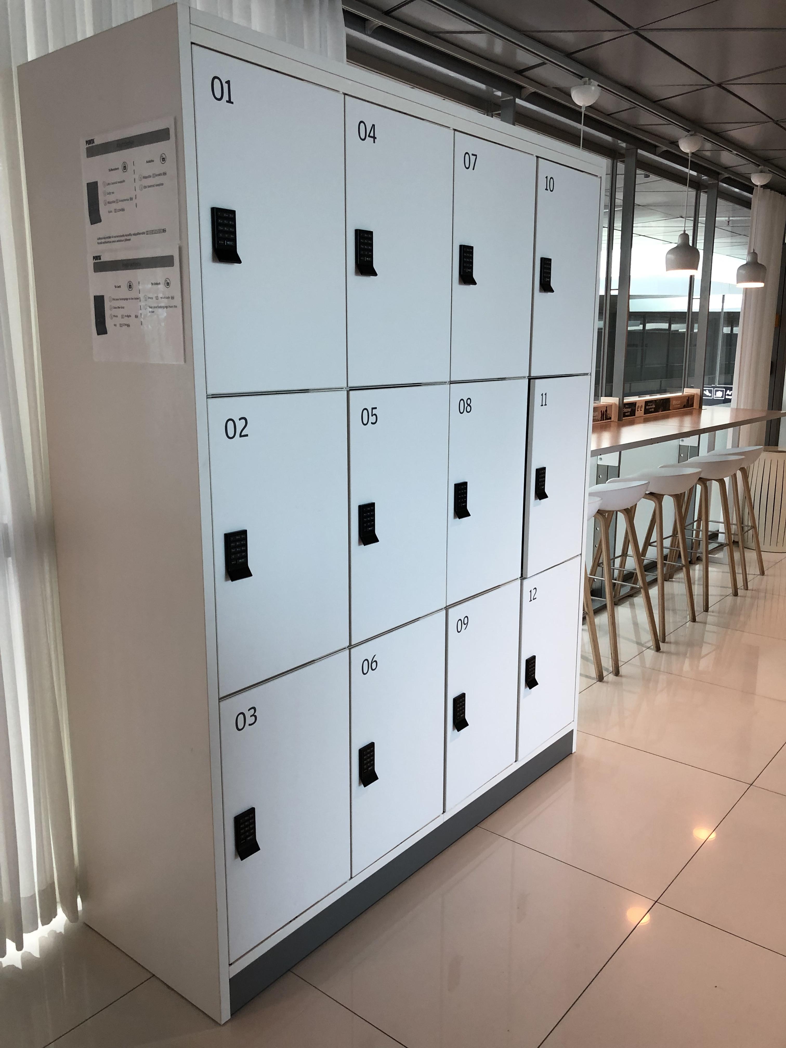 Finnair Business Class Lounge Helsinki storage lockers