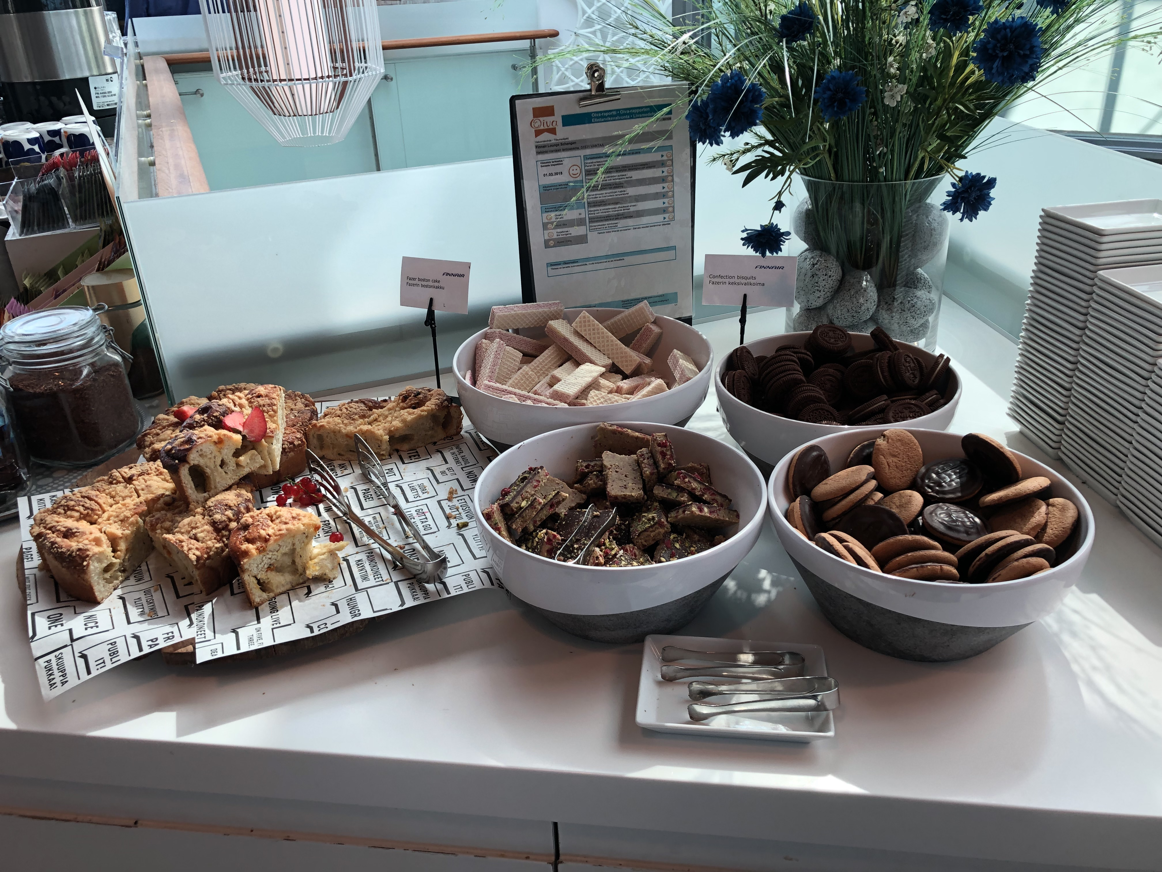 Finnair Business Class Lounge Helsinki cakes and cookies