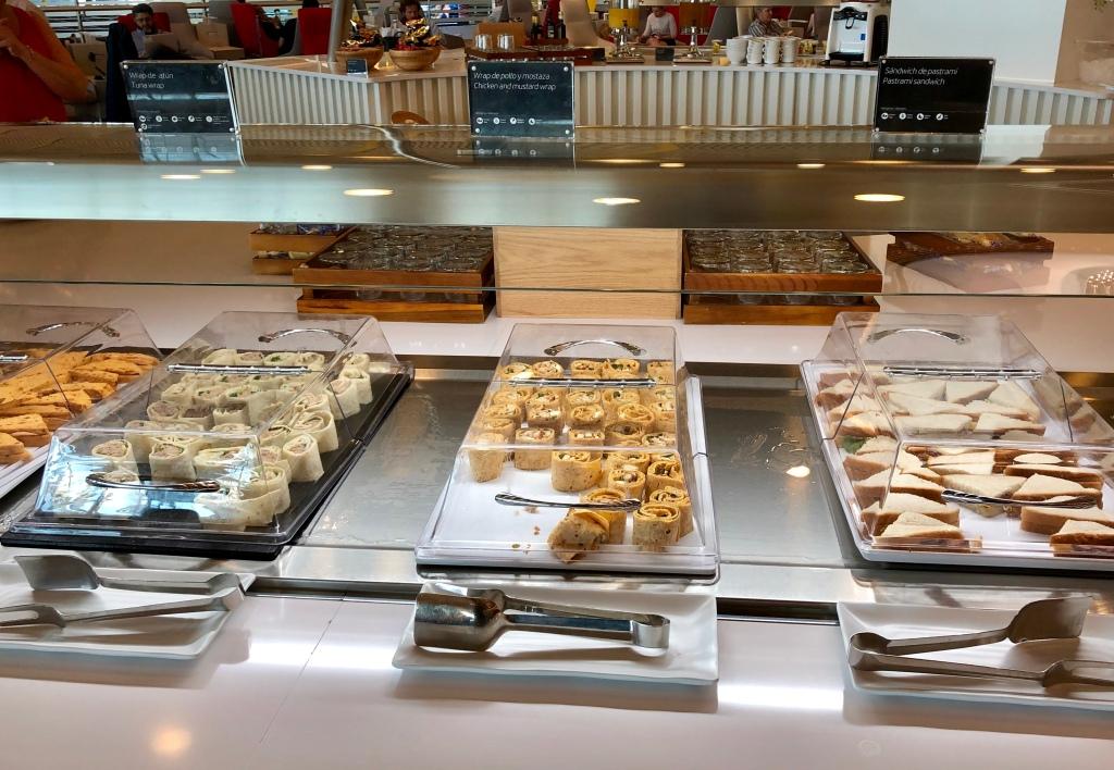 Iberia Dalí Premium Lounge Madrid sandwiches and wraps