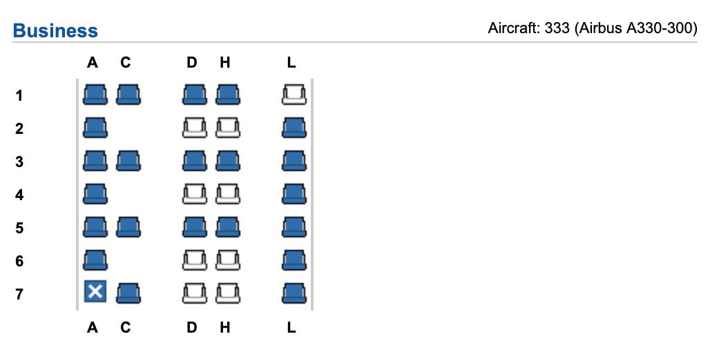 Finnair A330-300 business class seating configuration