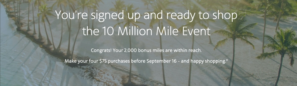 10 Million Mile Event signup confirmation