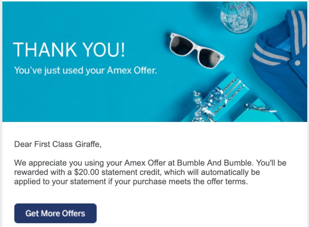 Bumble and Bumble Amex Offer redemption confirmation