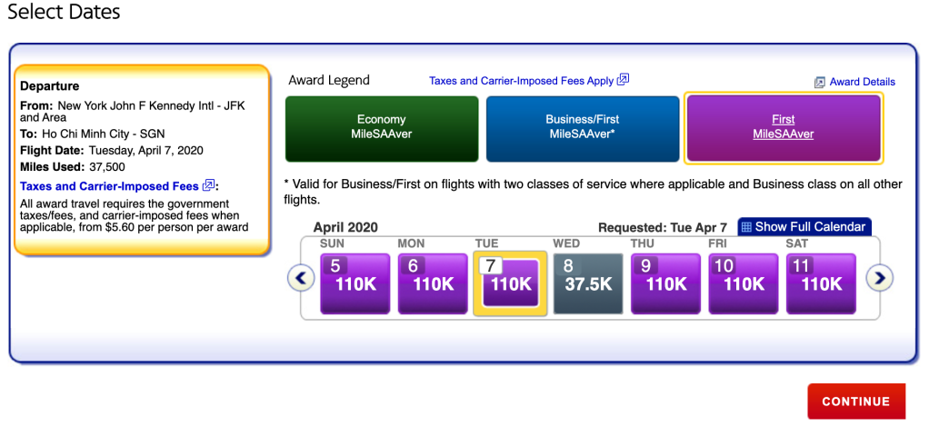 AA.com awards search results