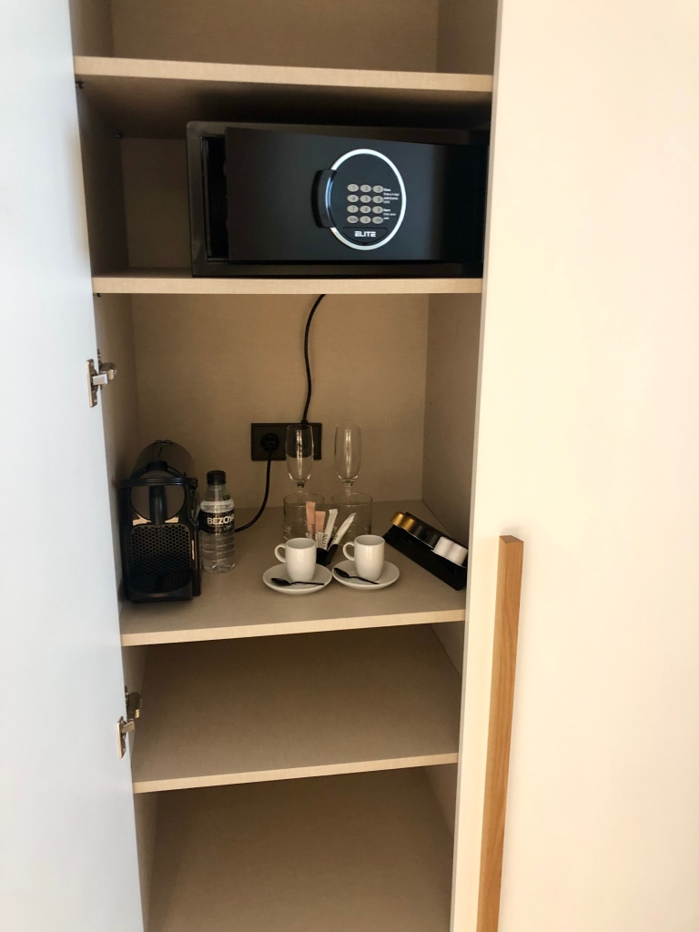 Nakar Hotel safe and Nespresso machine
