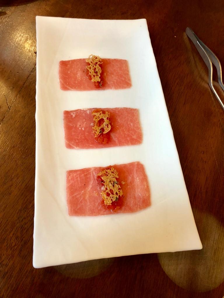 Tickets tuna belly sheet with tomato tartar
