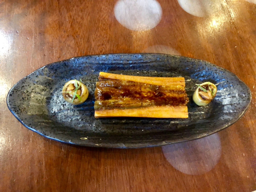 Tickets marrow with eggplant and glazed potato with tarragon