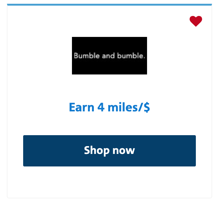 Bumble and Bumble offer in AAdvantage shopping portal