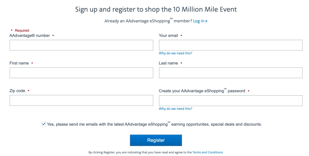 10 Million Mile Event sign-up page for new members