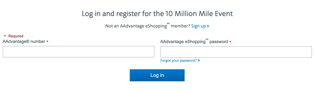 10 Million Mile Event login page for existing members