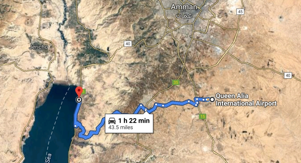 Map from AMM to the Hilton Dead Sea Resort and Spa