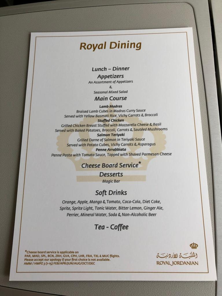 Royal Jordanian business class food menu