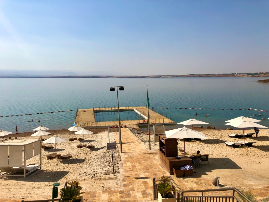 Dead Sea beach area and pontoon