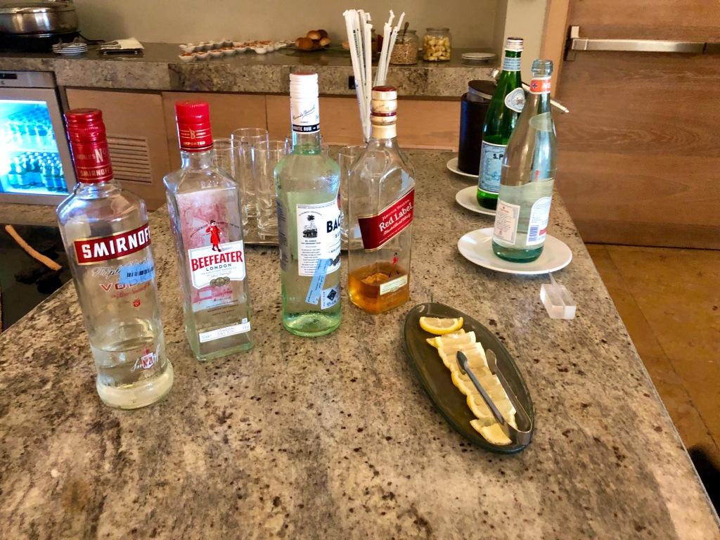 Executive Lounge hard liquor selection